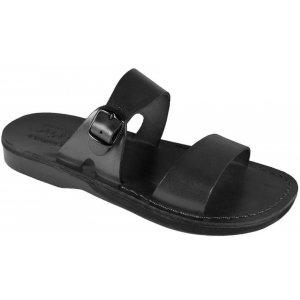 Sandale Negre Piele Naturala Ajustabile Gleza