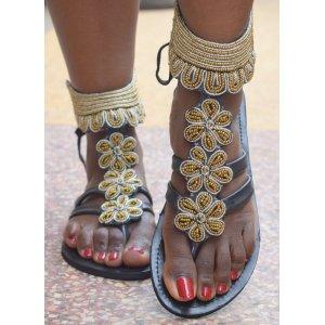 Sandale Piele Maasai Flower Aurii