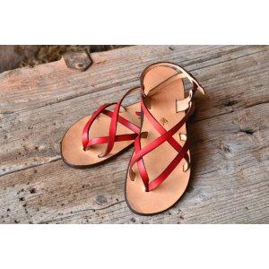 Sandale Dama Model Victory Piele Naturala Rosu - Curele Complet Ajustabile