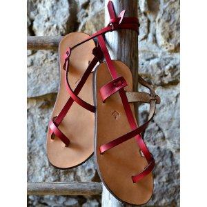 Sandale Dama Model Traveller Piele Naturala Rosu - Curele Complet Ajustabile