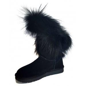 Cizme Piele Intoarsa Tip UGG Fox Fur Tall Negre New