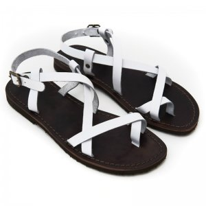 Sandale Romane de Dama Model Betina Alb