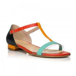 Sandale piele naturala Model Miranda Cyan Galben - sau Orice Culoare