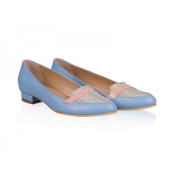 Balerini piele naturala Silvia Bleu Cream - sau Orice Culoare