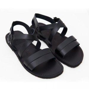 Sandale Gladiator din Piele Barbatesti Negre Cezar P