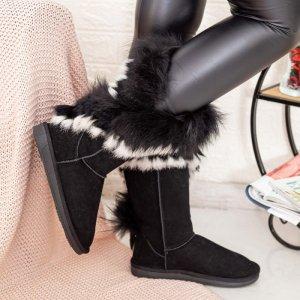 Cizme Piele Naturala Tip UGG Fur Tall Negre