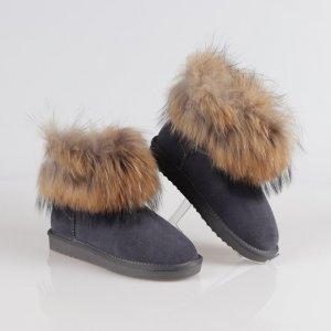 Cizme Piele Gri Fox Fur Blana Vulpe Naturala