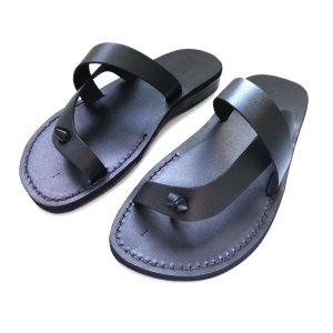 Sandale Faraon Negre tip Papuc Piele Naturala Unisex