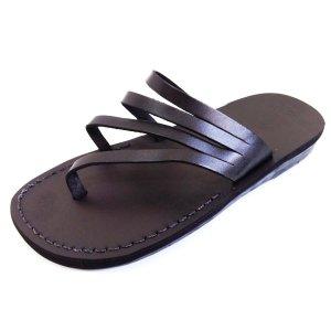 Sandale Spirala tip Papuc Unisex Negre Piele Naturala