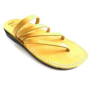 Sandale Spirala tip Papuc Unisex Galbene Piele Naturala