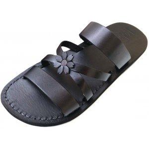 Sandale Dama din Piele Naturala Flower Black x