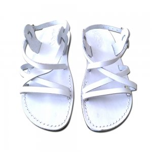 Sandale Piele Naturala Clasice Albe