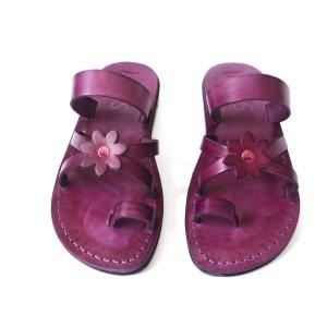 Sandale Piele Naturala Flower Violet