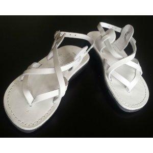 Sandale Piele Naturala V Albe