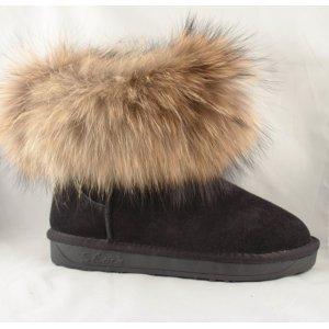 Cizme Piele Tip UGG  Negre Fox Fur Blana Vulpe Naturala ls