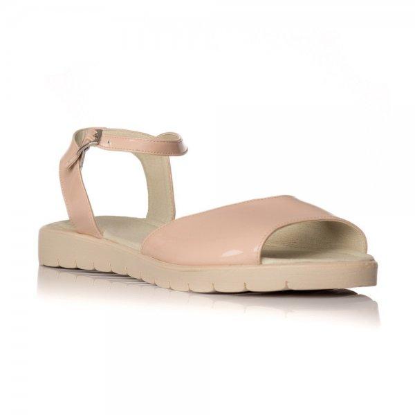 Sandale Piele Naturala Cu Talpa Joasa Merry Nude