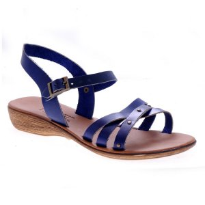 Sandale dama piele romane albastre antique