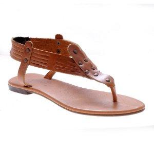 Sandale dama piele minimal romane maron antique