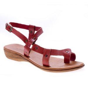 Sandale dama piele romane visinii antique