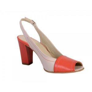 Sandale piele naturala nude/orange