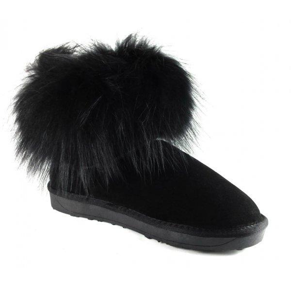 Cizme Piele Tip UGG  Negre Fox Fur Blana Vulpe Neagra